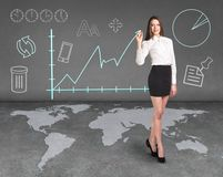 Businesslady on the map Royalty Free Stock Photography