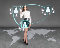 Businesslady on the map Royalty Free Stock Photos