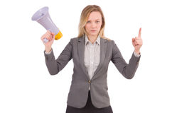 Businesslady with megaphone Royalty Free Stock Photography