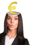 Businesslady met euro teken Stock Afbeelding