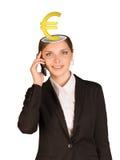 Businesslady met euro teken Royalty-vrije Stock Foto's