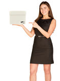 Businesslady pointing at white box Stock Image