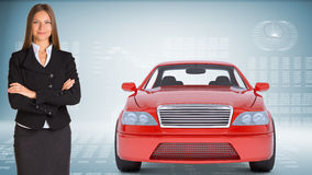 Businesslady with red car Stock Image