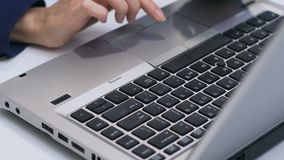 Businesslady typing on laptop, sales manager working with data, hands closeup. Stock footage stock video