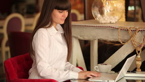 Businesslady typing on notebook. Young adult woman girl indoors stock footage