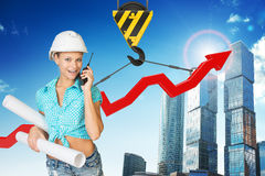 Businesslady with walkie-talkie set Stock Image