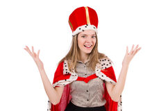 Businesslady wearing crown isolated on white Stock Images