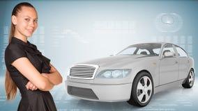 Businesslady z samochodem Zdjęcie Stock