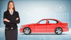 Businesslady z samochodem Obrazy Stock