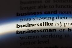 Businesslike. Word in a dictionary.  concept Stock Photo