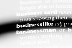 Businesslike. Word in a dictionary.  concept Stock Photography