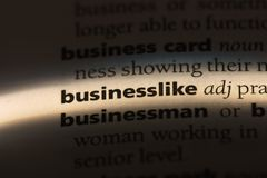 Businesslike. Word in a dictionary.  concept Royalty Free Stock Photo