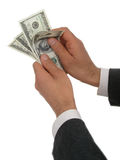 Businessman's Hands Counting Money. Isolated Royalty Free Stock Images