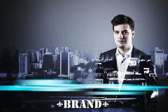 Businessman& x27 κορμός του s με την μπλε φλόγα Στοκ φωτογραφία με δικαίωμα ελεύθερης χρήσης
