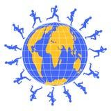 Businessman. Running men around the globe symbolizing competition Royalty Free Stock Image