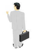 Businessman. The reading businessman, the rear view, on white background Royalty Free Stock Images