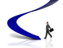 Businessman. 3d illustration of businessman step to stairway Stock Photo