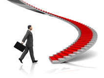 Businessman. 3d illustration of businessman step to stairway with red carpet Royalty Free Stock Images
