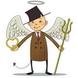 Businessman. A businessman with the nature of demon and angel Stock Photo