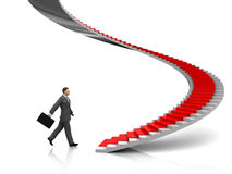 Businessman. 3d illustration of businessman step to stairway with red carpet Royalty Free Stock Image