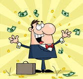 Businessman. Successful white businessman standing under falling money Stock Images