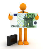 Businessman. And Euro. 3D render Royalty Free Stock Photo