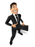 Businessman. Young businessman in a black suit with a diplomat in the hands of smiles Stock Photography