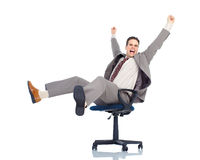 Businessman. Happy handsome businessman. Isolated over white background Royalty Free Stock Photo
