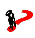 Businessman. Standing on question mark's point and thinking Stock Photography