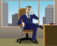 Businessman. Sitting in chair crossed his legs on phone Vector Illustration
