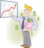 Businessman 2. Businessman holding a piggy bank full of banknotes stock illustration