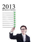 Businessman 2013 Resolutions Isolated In White Stock Photo