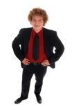 Businessman. Young businessman standing in a black suit on white Royalty Free Stock Image