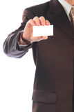 Businessman. The businessman with the white card in a hand Stock Image