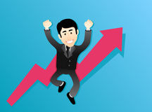 Businessman. Happy Businessman Jumping in sky Stock Photography