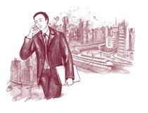 Businessman. Young businessman on background of city scape Stock Photography