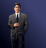 Businessman. With suit and tie standing confidently stock illustration