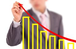 Businessman. Male hand drawing a chart royalty free stock photo