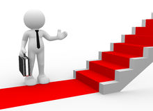 Businessman. 3d people - man, person with a red carpet and stairs. To Success. Businessman Royalty Free Stock Image