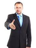 Businessman. Young business man ready to set a deal over white background Royalty Free Stock Photo