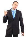 Businessman. Portrait of an handsome businessman looking and pointing his finger up Stock Photo