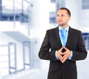 Businessman. Standing, looking off into distance Royalty Free Stock Photos