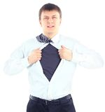 Businessman. Business man with courage and superman concept tearing off his shirt isolated over white background Royalty Free Stock Photography