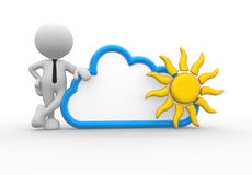 Businessman. 3d people - man, person standing near to a cloud and a sun. Drawing. Businessman Stock Photography