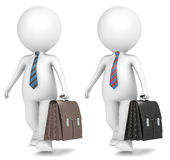 Businessman. 3D little human character the Business Man walking with Leather Briefcase. 2 Color versions Stock Photos