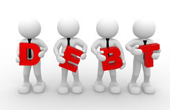 Businessman. 3d people - man, person with a word debt.  Debt concept Royalty Free Stock Photos