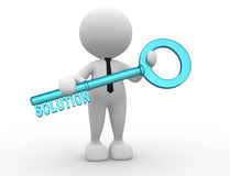 Businessman. 3d people - man, person holding key with word solution Stock Photos