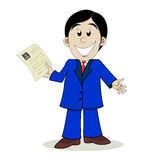 Businessman. Business man shows resume. Vector illustration Royalty Free Stock Photo