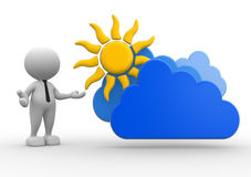 Businessman. 3d people - man, person standing near to a cloud and a sun. Drawing. Businessman Stock Image
