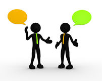 Businessman. 3d people - men, person standing and talking with speech bubbles Royalty Free Stock Photos
